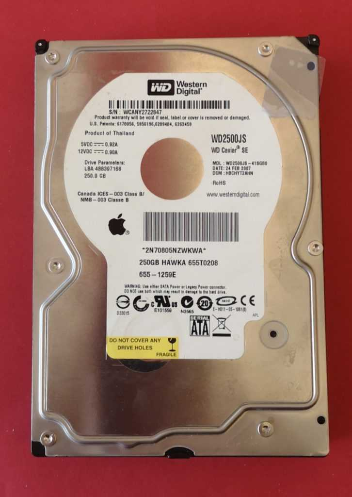 Image Disque dur 250 GB Western Digital
